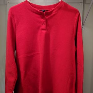 Land's End 3 Button Pull Over Fleece, size L